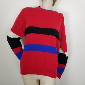 Vintage red, black, blue, white striped sweater